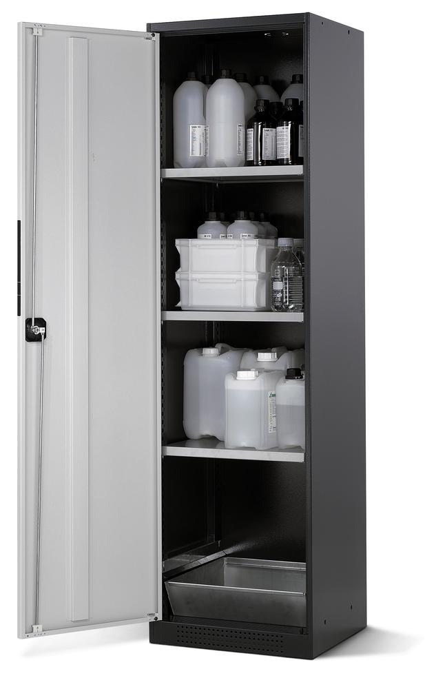 Chemicals cabinet Systema CS-53L, body anthracite, wing doors grey, 3 inliners and spillage decking