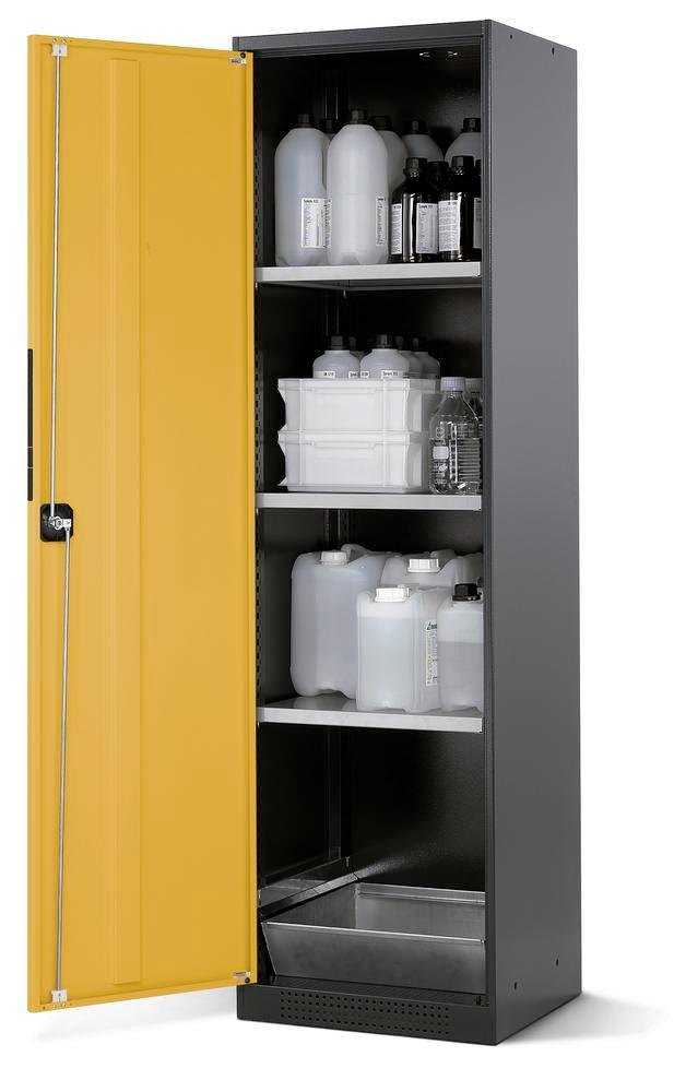 Chemicals cabinet Systema CS-53L, body anthracite, wing doors yellow, 3 inliners and spillage deckin