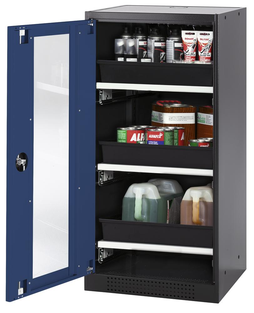 Chemicals cabinet Systema CS-53LG, body anthracite, wing doors blue, 3 slide-out sumps