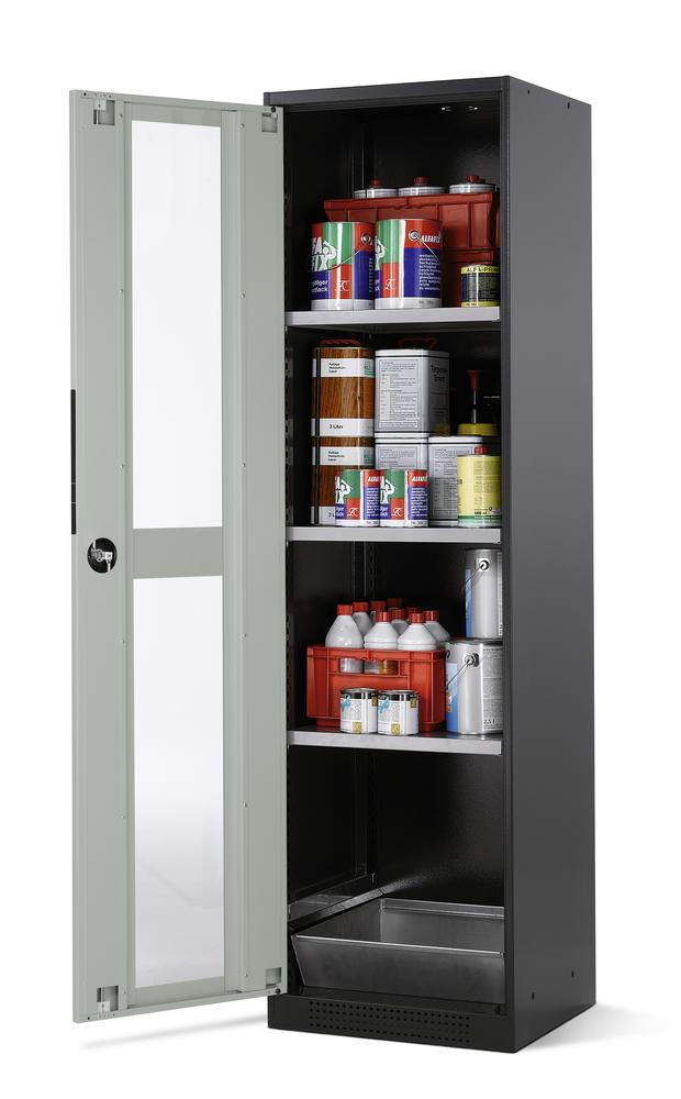 Chemicals cabinet Systema CS-53LG, body anthracite, wing doors grey, 3 inliners and spillage decking