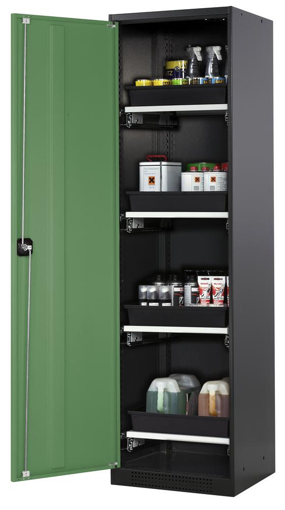 Chemicals cabinet Systema CS-54L, body anthracite, wing doors green, 3 slide-out sumps