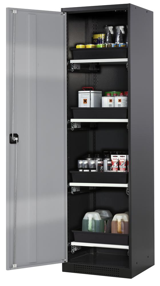 Chemicals cabinet Systema CS-54L, body anthracite, wing doors silver, 3 slide-out sumps