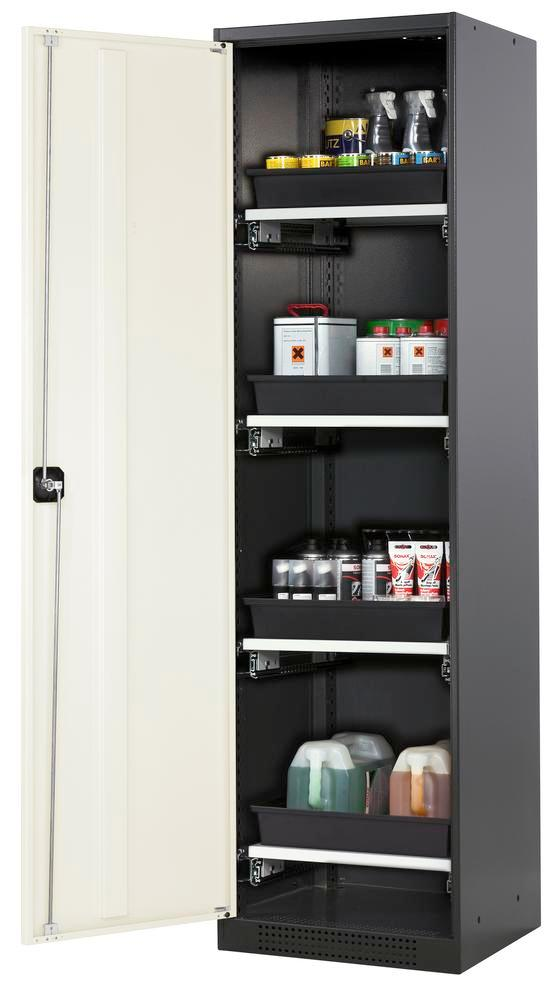 Chemicals cabinet Systema CS-54L, body anthracite, wing doors white, 3 slide-out sumps - 1