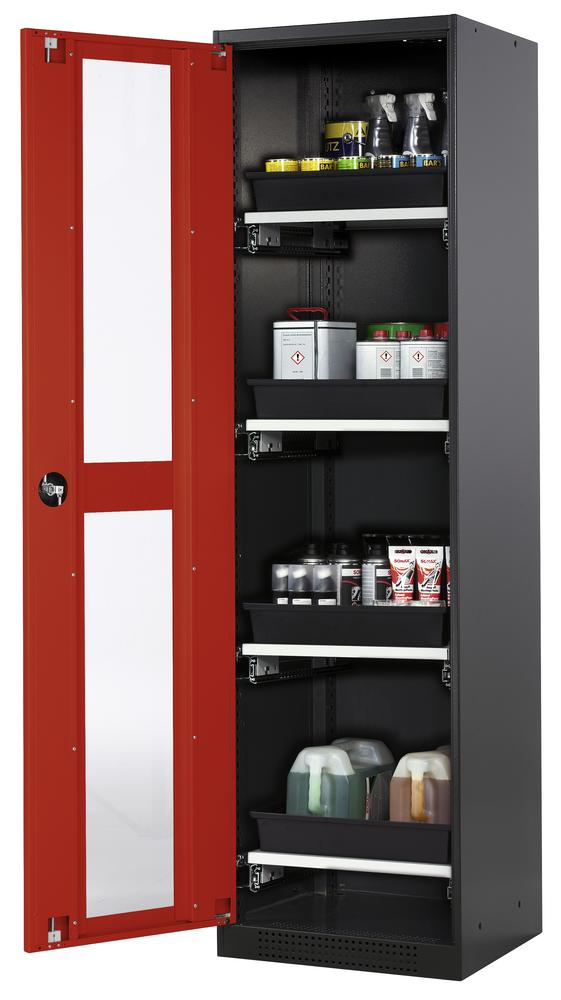 Chemicals cabinet Systema CS-54LG, body anthracite, wing doors red, 4 slide-out sumps - 1