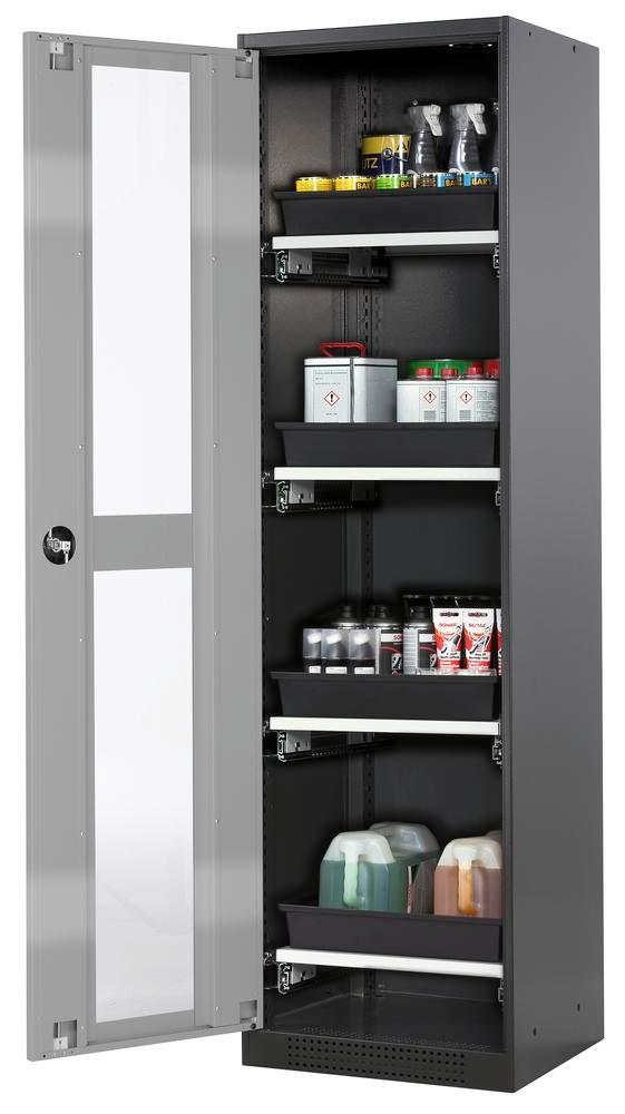 Chemicals cabinet Systema CS-54LG, body anthracite, wing doors silver, 4 slide-out sumps - 1