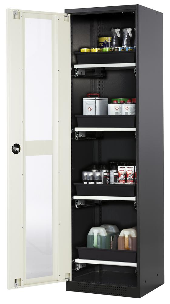 Chemicals cabinet Systema CS-54LG, body anthracite, wing doors white, 4 slide-out sumps