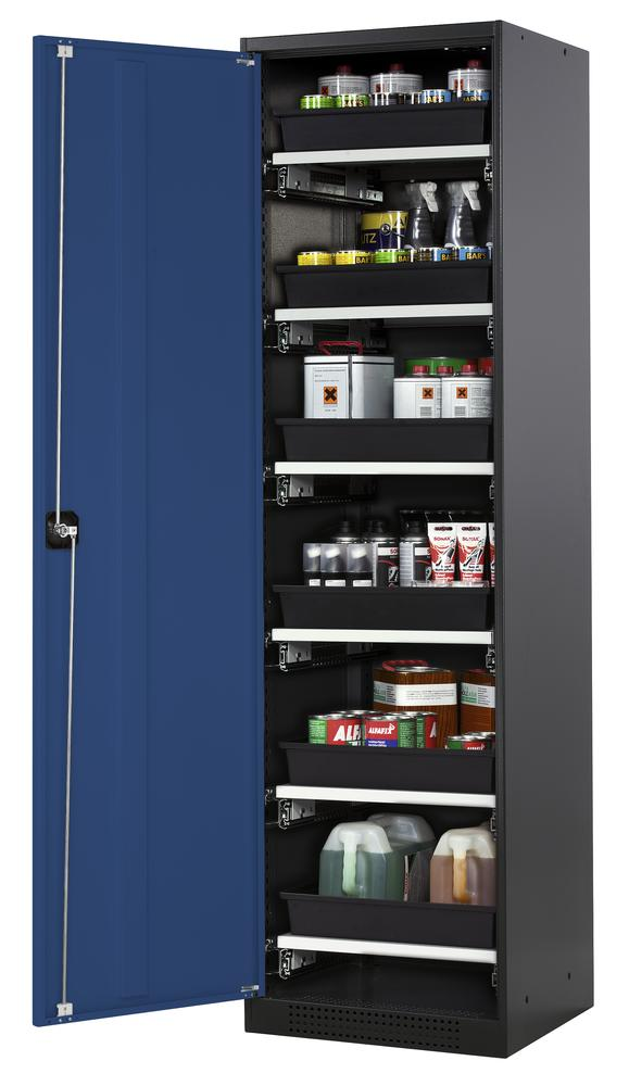 Chemicals cabinet Systema CS-56L, body anthracite, wing doors blue, 6 slide-out sumps