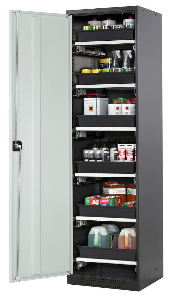 Chemicals cabinet Systema CS-56L, body anthracite, wing doors grey, 6 slide-out sumps