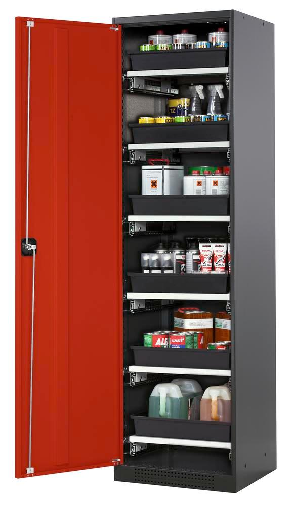Chemicals cabinet Systema CS-56L, body anthracite, wing doors red, 6 slide-out sumps