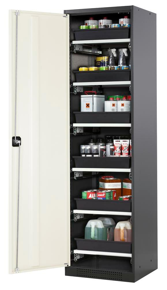 Chemicals cabinet Systema CS-56L, body anthracite, wing doors white, 6 slide-out sumps