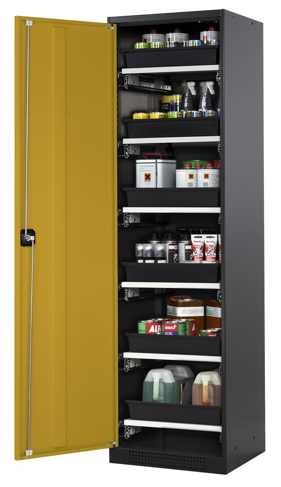 Chemicals cabinet Systema CS-56L, body anthracite, wing doors yellow, 6 slide-out sumps