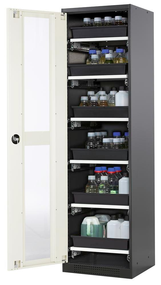 Chemicals cabinet Systema CS-56LG, body anthracite, wing doors white, 6 slide-out sumps - 1