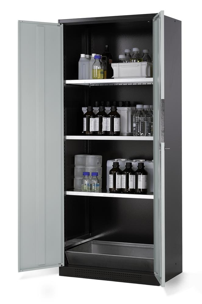 Chemicals cabinet Systema CS-83, body anthracite, wing doors grey, 3 inliners and spillage decking