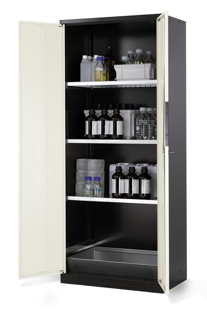 Chemicals cabinet Systema CS-83, body anthracite, wing doors white, 3 inliners and spillage decking