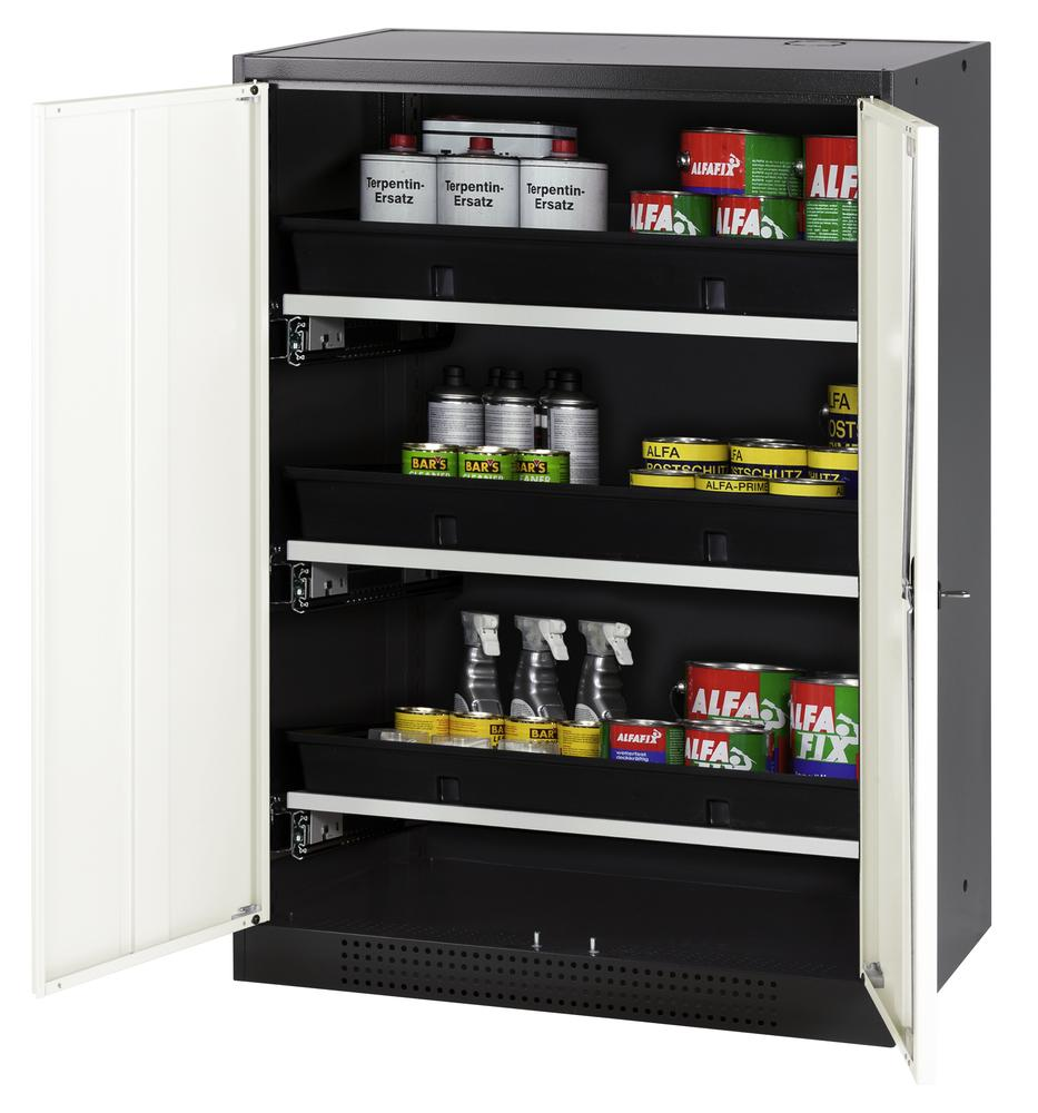 Chemicals cabinet Systema CS-83, body anthracite, wing doors white, 3 slide-out sumps