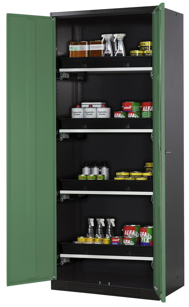 Chemicals cabinet Systema CS-84, body anthracite, wing doors green, 3 slide-out sumps