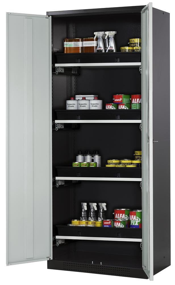Chemicals cabinet Systema CS-84, body anthracite, wing doors grey, 3 slide-out sumps
