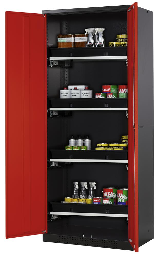 Chemicals cabinet Systema CS-84, body anthracite, wing doors red, 3 slide-out sumps