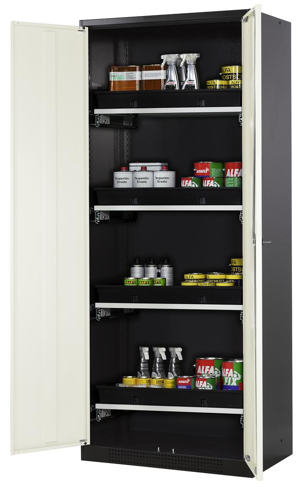 Chemicals cabinet Systema CS-84, body anthracite, wing doors white, 3 slide-out sumps