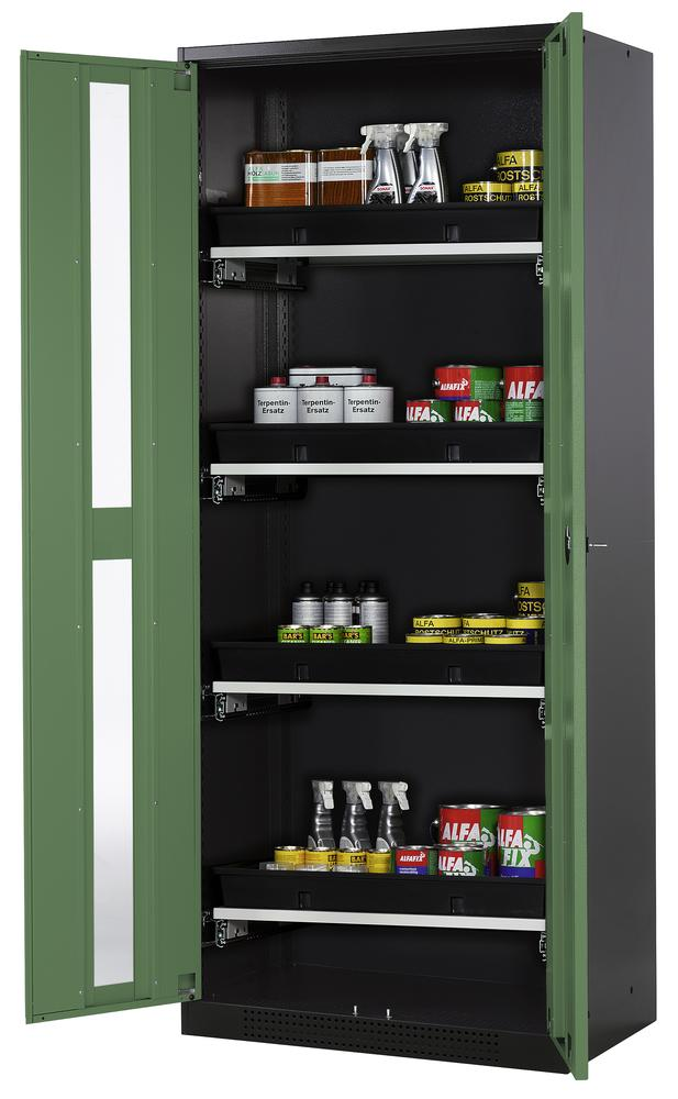 Chemicals cabinet Systema CS-84G, body anthracite, wing doors green, 4 slide-out sumps - 1