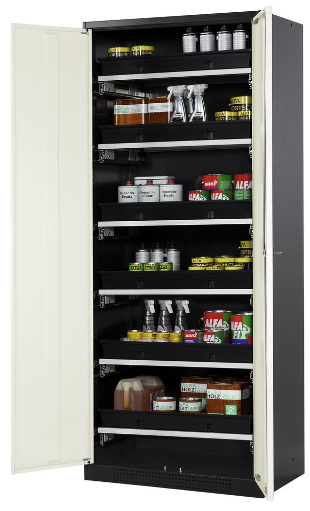 Chemicals cabinet Systema CS-86, body anthracite, wing doors white, 6 slide-out sumps