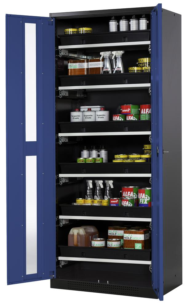 Chemicals cabinet Systema CS-86G, body anthracite, wing doors blue, 6 slide-out sumps