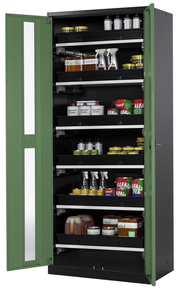 Chemicals cabinet Systema CS-86G, body anthracite, wing doors green, 6 slide-out sumps