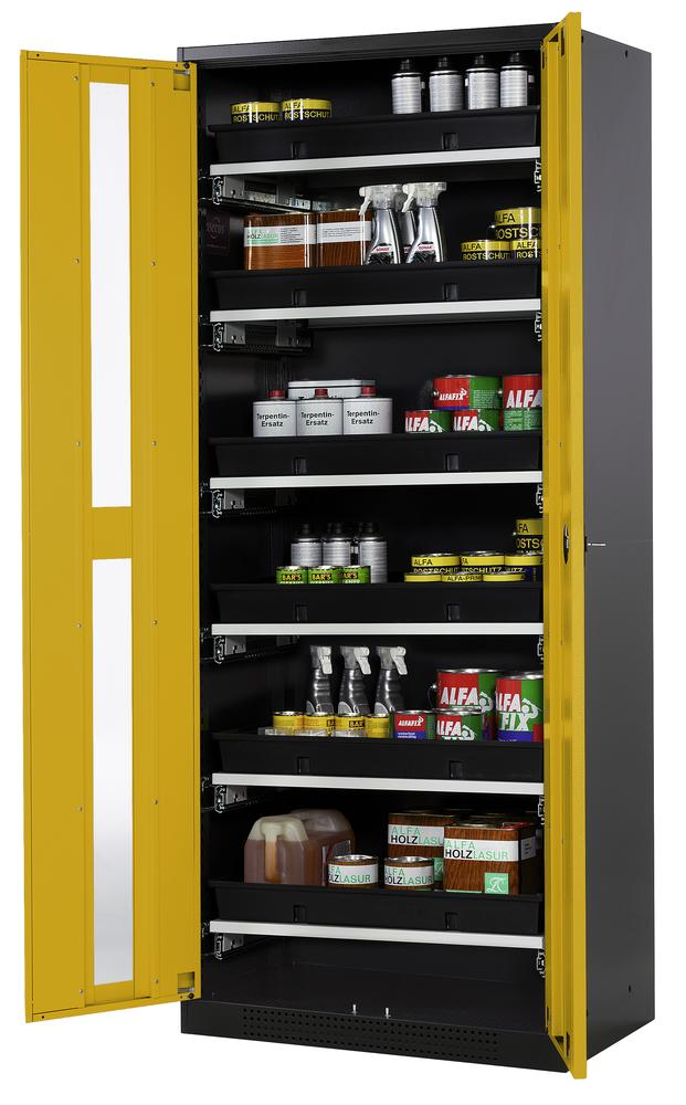 Chemicals cabinet Systema CS-86G, body anthracite, wing doors yellow, 6 slide-out sumps