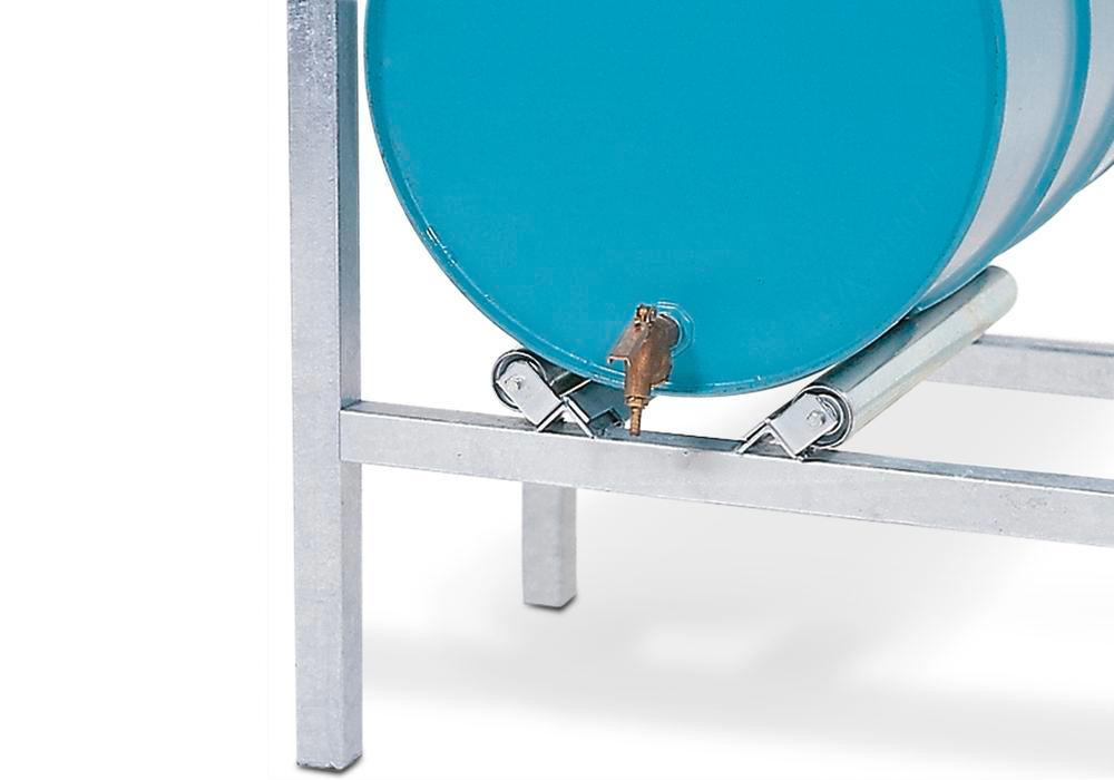 Drum roller supports for horizontal drum storage using ARL racking - 1