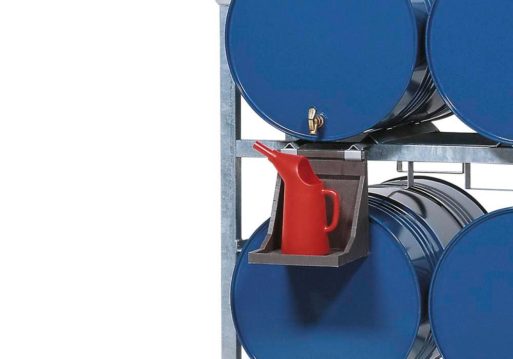 Jug Holder, polyethylene, for horizontal drum storage racks