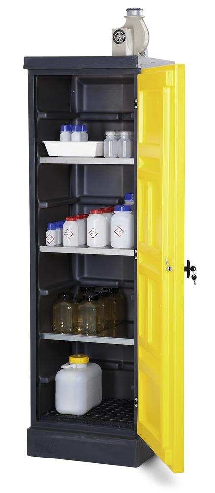 PolyStore environm. cabinet W 60 cm,plastic,4 stainl. steel shelves,door closes on right,Type PS620