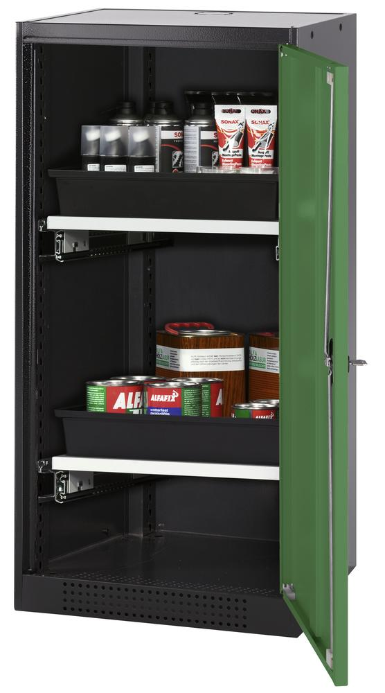 Systema chemicals cabinet CS-52 R, body anthracite, green doors, 2 slide-out sumps