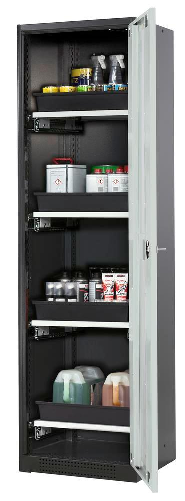 Systema chemicals cabinet CS-54 RG, body anthracite, grey doors, 4 slide-out sumps