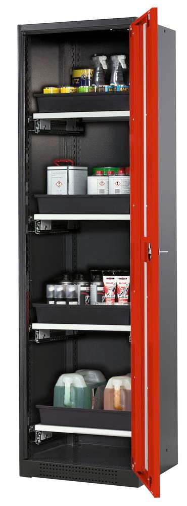 Systema chemicals cabinet CS-54 RG, body anthracite, red wing doors, 4 slide-out sumps