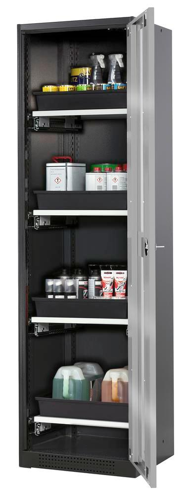 Systema chemicals cabinet CS-54 RG, body anthracite, silver doors, 4 slide-out sumps