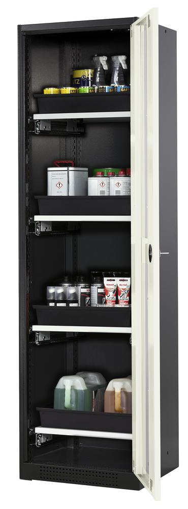 Systema chemicals cabinet CS-54 RG, body anthracite, white doors, 4 slide-out sumps