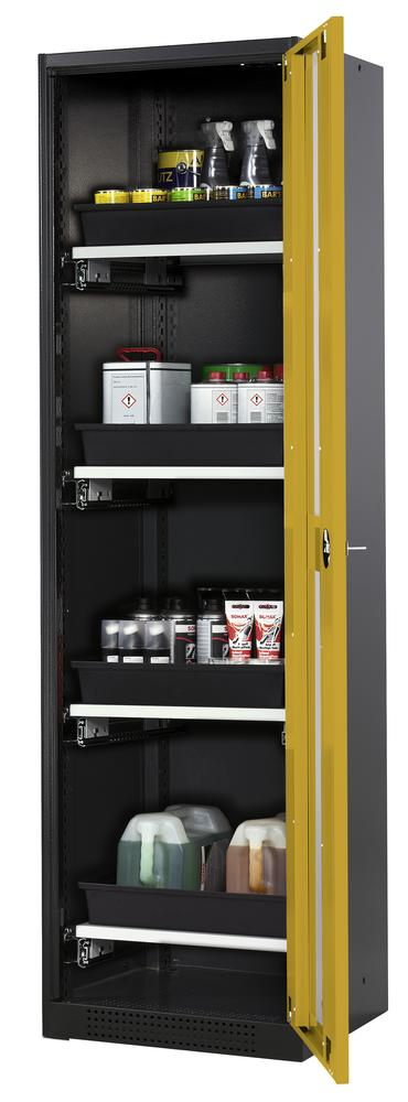 Systema chemicals cabinet CS-54 RG, body anthracite, yellow doors, 4 slide-out sumps - 1