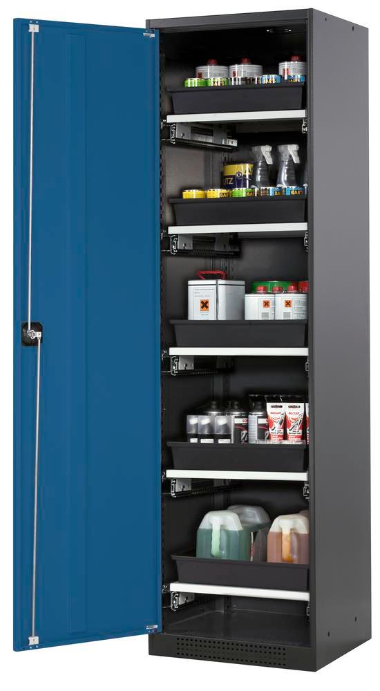 Systema chemicals cabinet CS-55 L, Body anthracite, blue doors, 5 slide-out sumps