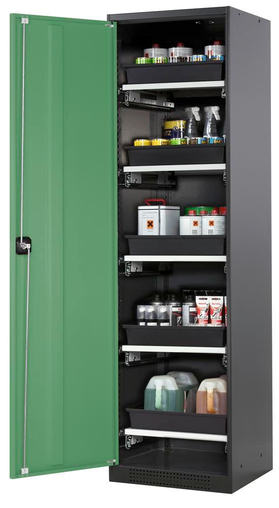 Systema chemicals cabinet CS-55 L, Body anthracite, green doors, 5 slide-out sumps