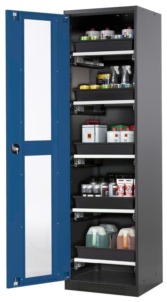 Systema chemicals cabinet CS-55 LG, body anthracite, blue doors, 5 slide-out sumps