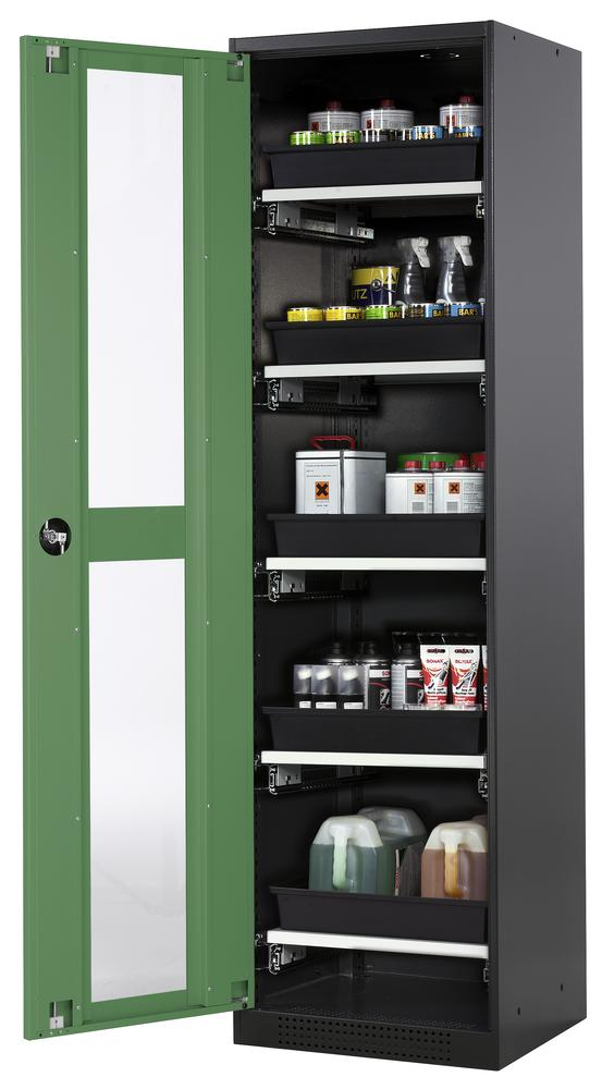 Systema chemicals cabinet CS-55 LG, body anthracite, green doors, 5 slide-out sumps