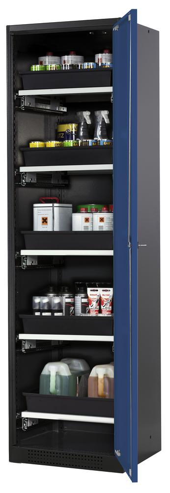 Systema chemicals cabinet CS-55 R, body anthracite, blue doors, 5 slide-out sumps