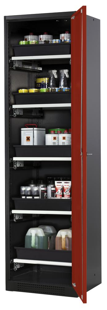 Systema chemicals cabinet CS-55 R, body anthracite, red wing doors, 5 slide-out sumps