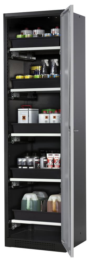Systema chemicals cabinet CS-55 R, body anthracite, silver doors, 5 slide-out sumps - 1