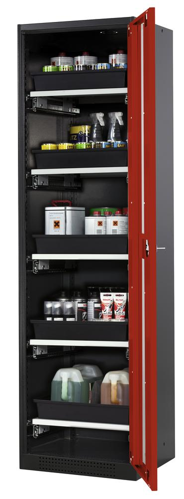 Systema chemicals cabinet CS-55 RG, body anthracite, red wing doors, 5 slide-out sumps