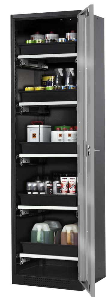Systema chemicals cabinet CS-55 RG, body anthracite, silver doors, 5 slide-out sumps