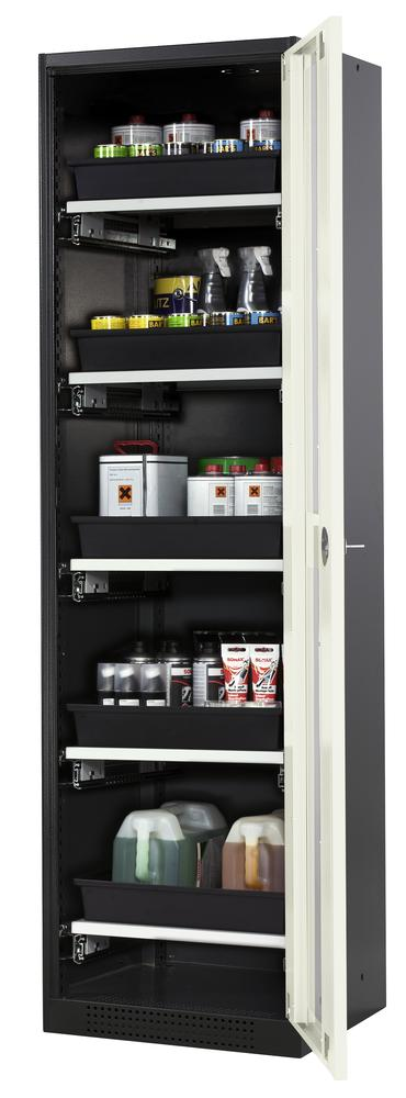 Systema chemicals cabinet CS-55 RG, body anthracite, white doors, 5 slide-out sumps - 1