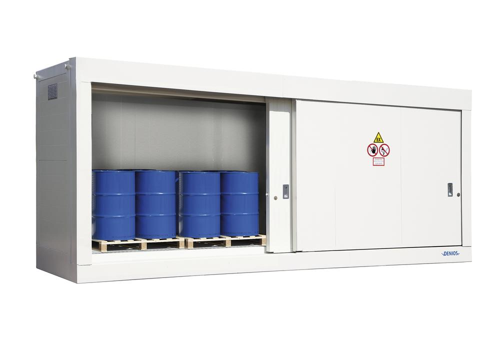 Fire-rated storage container FBM base 614.20 OST with manual sliding door