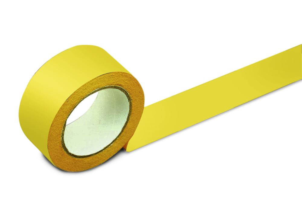 Floor marking tape, 50 mm wide, yellow, 2 rolls
