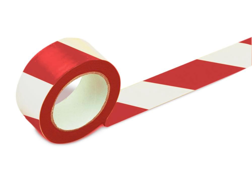 Floor marking tape, 75 mm wide, red/white, 2 rolls
